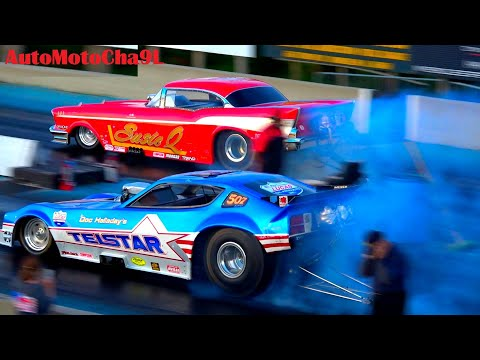 DRAG RACING NOSTALGIA FUNNY CARS LOUD SCREAMING 4000hp ENGINES SMOKEY BURNOUTS JUST LIKE BACK IN 70s