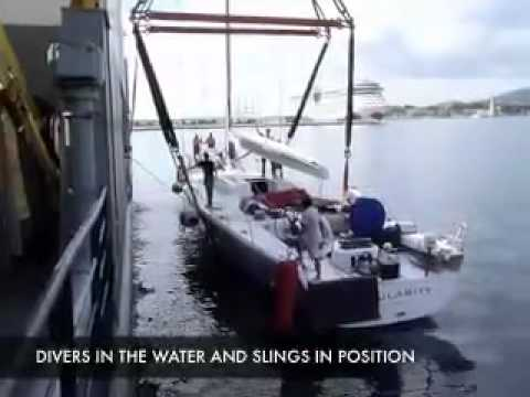 Yacht transport: A sailing yacht loading on a ship