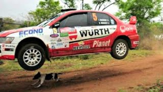 Dog escapes from death at rally race in Bolivia..