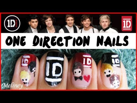ONE DIRECTION NAIL ART TUTORIAL | 1D BOY BAND KPOP FRENCH TIP NAIL DESIGN BEAUTIFUL KISS YOU,