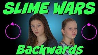 SLIME WARS || MAKING SLIME BACKWARDS CHALLENGE || MAKING SLIME IN REVERSE || Taylor and Vanessa