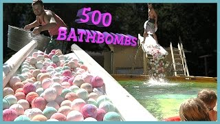 500 BATH BOMBS IN SWIMMING POOL‼️