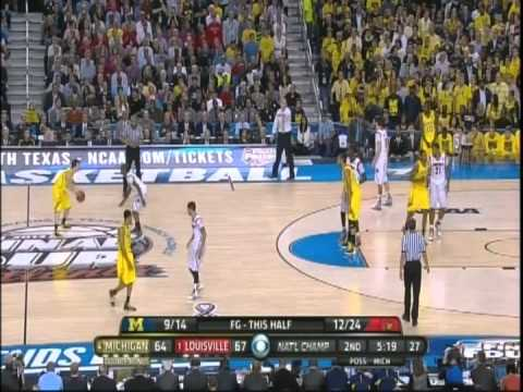 Trey Burke Blocks Siva(It's Called A Foul) NCAA National Championship Game