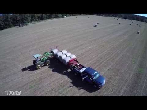 First Time Ever - Droning Hay Bales Being Loaded For Hauling With A DJI Phantom 2