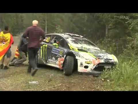 Ken Block crashes in WRC Rally Finland 2012