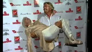 Sir Richard Branson Fireman Lifts His Mom