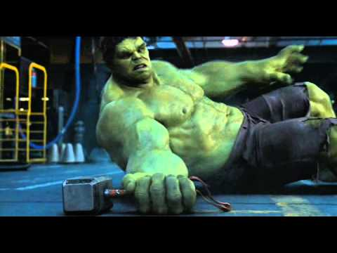 Hulk trying to lift Thor's hammer