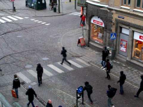 Swedish antifa chasing cops
