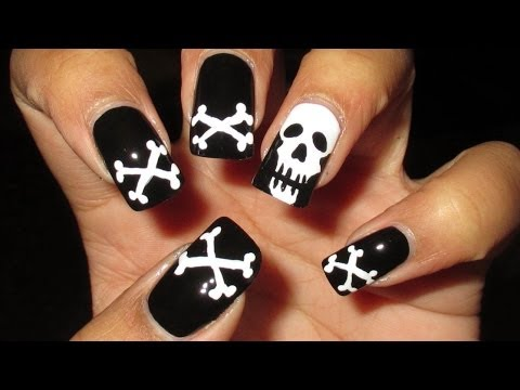 Skull & Crossbones Halloween Nail Art Tutorial