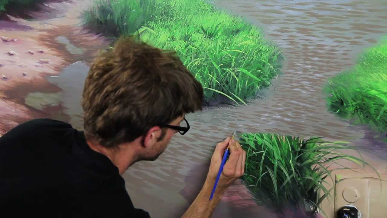 Clip from how to paint water with mural joe youtube for Mural joe painting