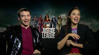 Gal Gadot & Ezra Miller on deleted JUSTICE LEAGUE scenes, Flash's name, Wonder Woman, more