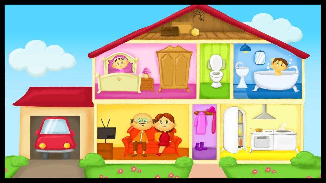 Apprendre le vocabulaire de la maison youtube - Image maison dessin ...
