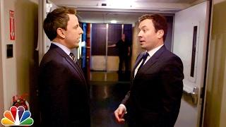 Jimmy Walks Seth Meyers to Late Night's Set After Tonight Show