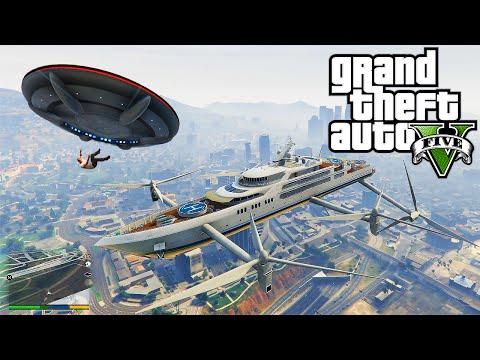 GTA 5 - FLYING SUPER YACHT MOD & UFO SPACESHIP! (GTA 5 Mods Funny Moments) | X7 Albert