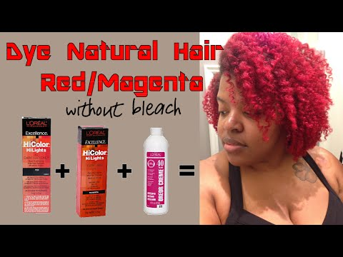 Dye Natural Hair Red or Magenta without Bleach using L'Oreal HiColor Hilights in Red & Magenta