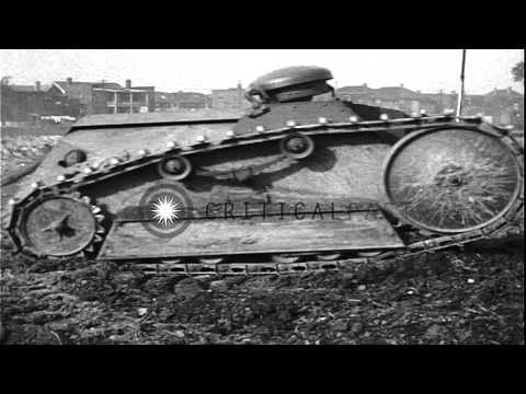WWI Ford 3-ton (two man) Tank Trials. HD Stock Footage