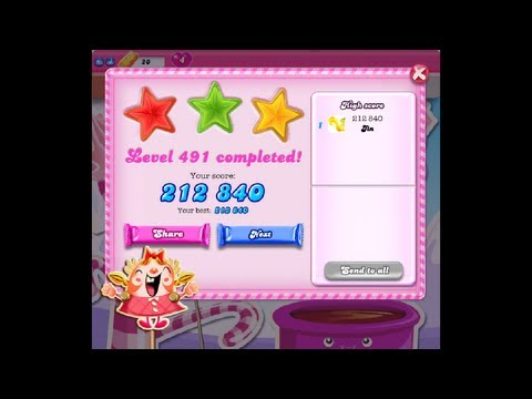 Candy Crush Saga Level 491 ★★★ NO BOOSTER