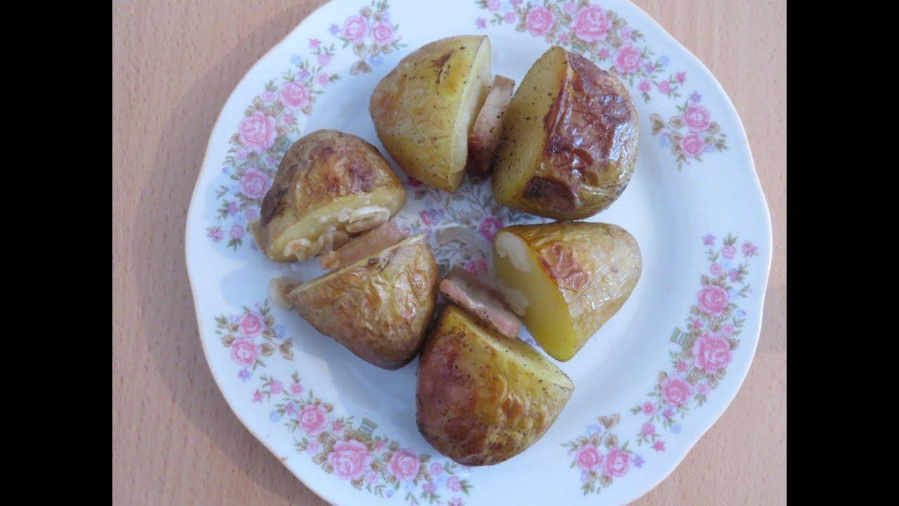 Картошка внутри с салом в духовке рецепт