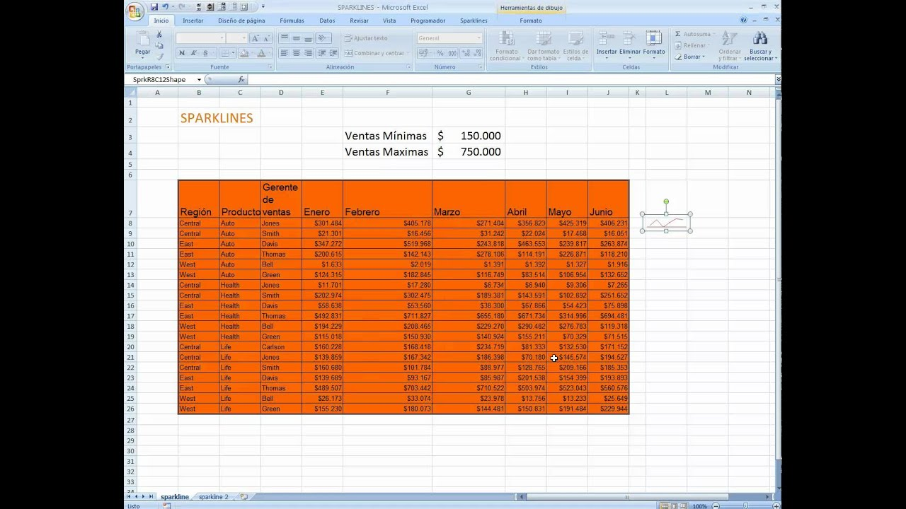 how to add sparklines in excel