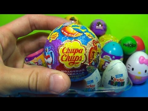 1 of 20 Kinder Surprise and Surprise eggs(SpongeBob Cars Hello Kitty TOY Story) Chupa Chups!