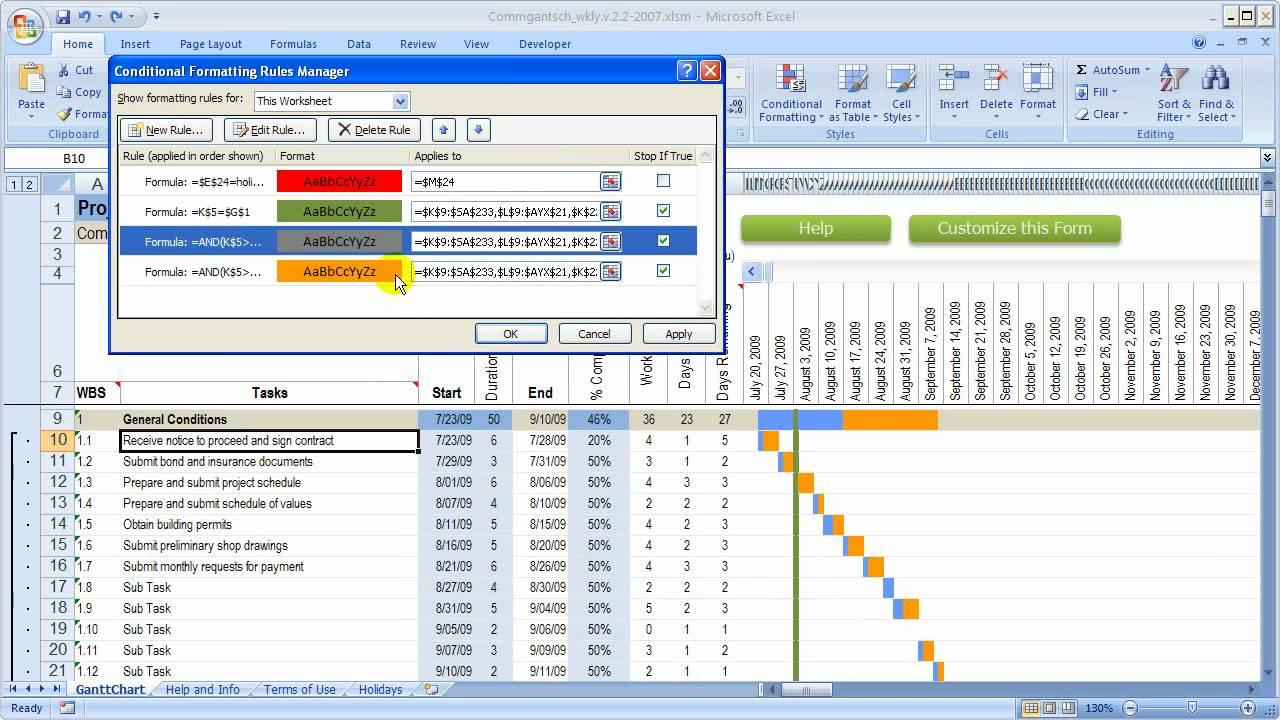 Change colors in gantt chart in Excel workbook - YouTube