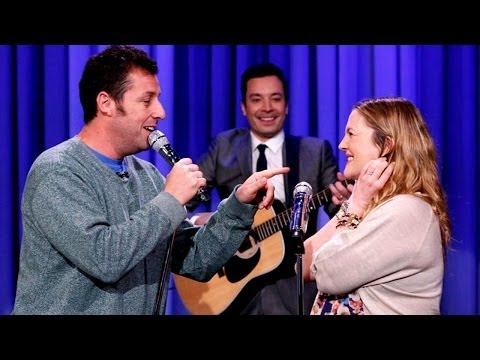 Adam Sandler Serenades Drew Barrymore Boobs in