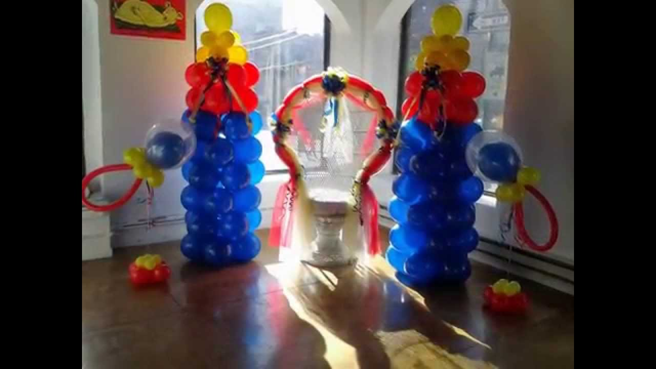 Festiveaffairsny balloon decorations baby shower chair for Balloon decoration ideas youtube