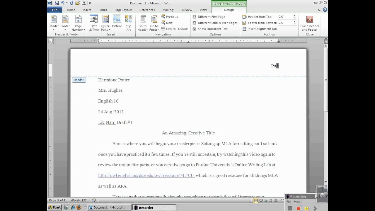 setting up mla header with microsoft word 2010