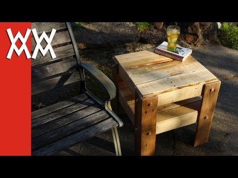 You can build this! DIY rustic side table made from free pallets.