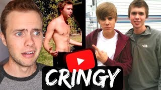 REACTING TO MY OLD CRINGY VIDEOS Ft. JUSTIN BIEBER