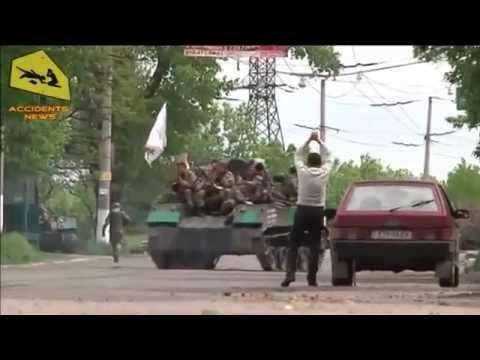 Ukraine Slavyansk. Gunfire, Militia. 05.05.2014