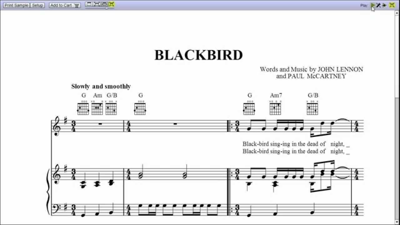 blackbird sheet music free pdf