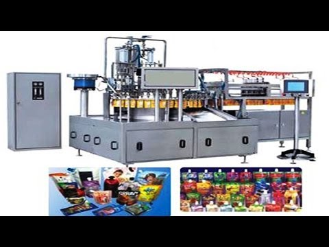 automatic linear stand up spout bags juice filling sealing capping machinery drinking filler capper