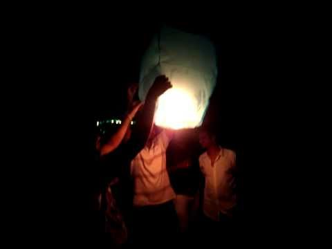 Fire Lanterns on  New Year's Eve 2014 @ Curlies Goa