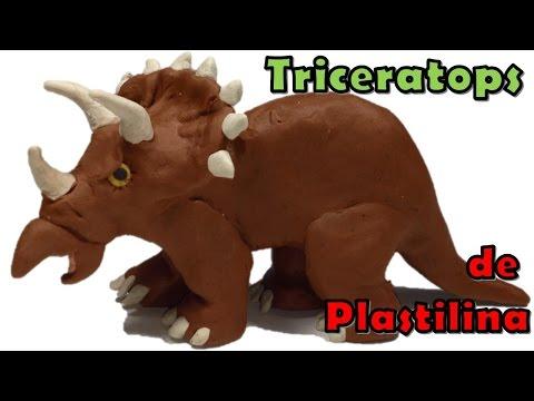Como hacer un dinosaurio triceratops de plastilina / how to make a clay triceratops