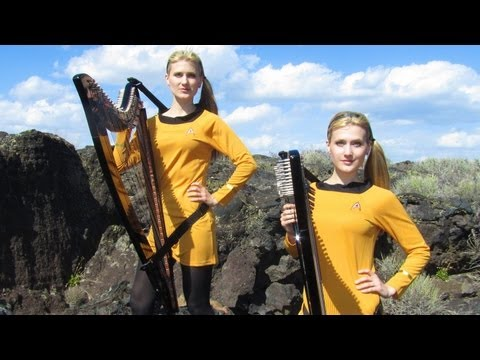 STAR TREK Theme (TOS at very end) Harp Twins electric- Camille and Kennerly
