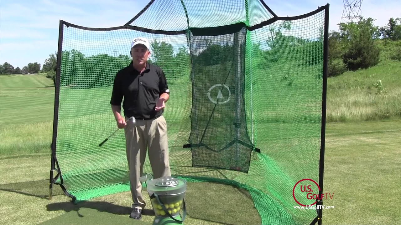 backyard driving range golf mats net and auto golf ball dispenser