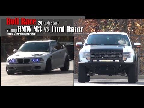 750hp BMW M3 vs Ford Rator 20mph Roll Race