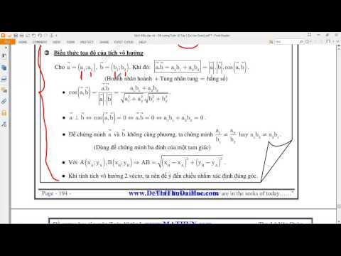 [TOÁN 10 HH] Chương 2 Tích vô hướng - 1 282-284 Lý thuyết và trình bày các bài toán đơn giản