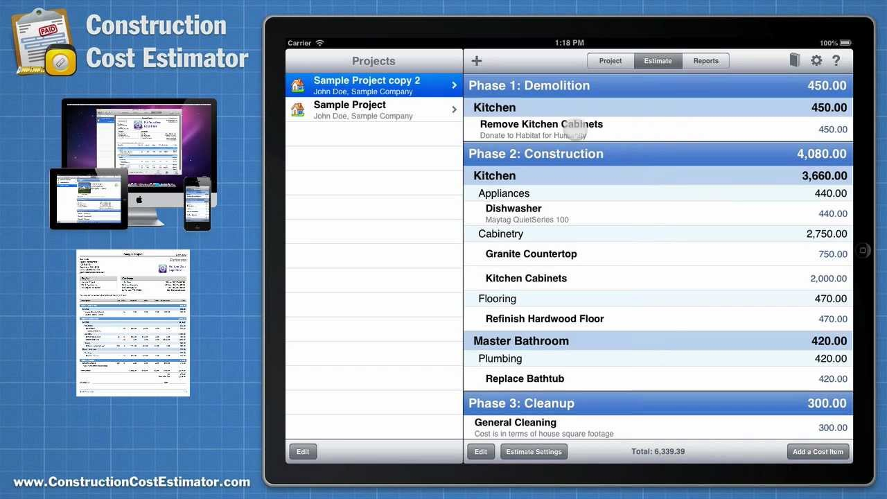 Construction cost estimator app for the mac ipad and for Building cost estimator