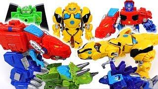 Transformers Rescue bots dinosaur transform! Go! Optimus Prime, Bumblebee, Chase! - DuDuPopTOY
