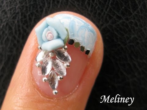 No Water Marble Nails French Tip - Crystal Rose Flower Nails Bridal Wedding Nail Art Design, Just a tutorial that might help some people :)