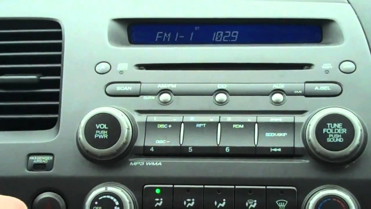 2006 honda civic radio code reset