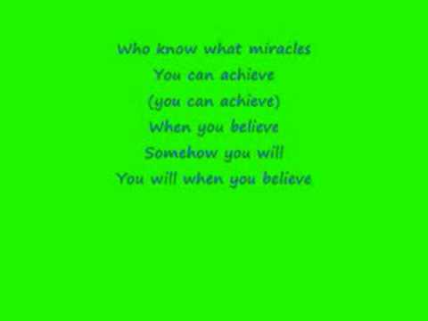 When you Believe- Mariah Carey with Lyrics