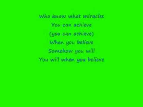 When you Believe- Mariah Carey with Lyrics