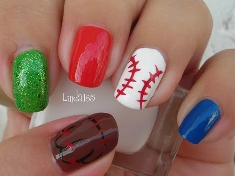 Nail Art - Baseball Nails for Father's Day
