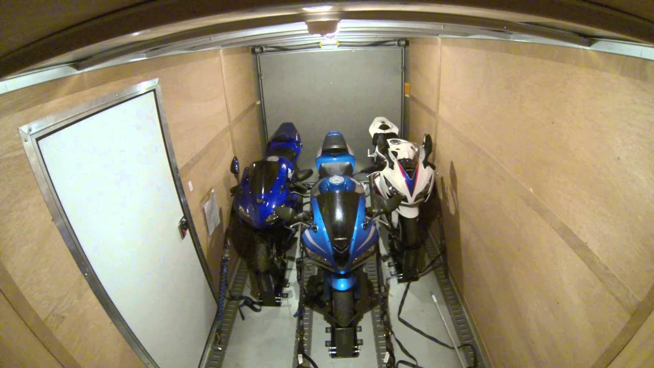 Interior Of Enclosed Trailer While Driving With