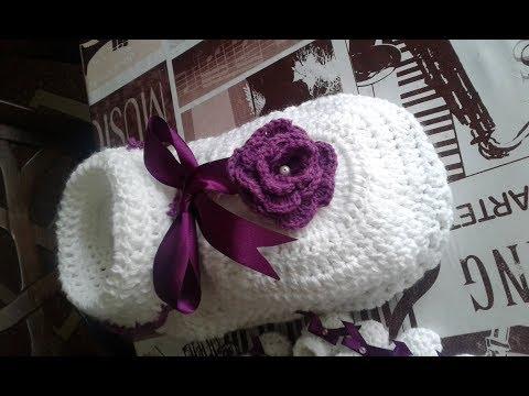 Souvenir escarpines y porta souvenir en crochet