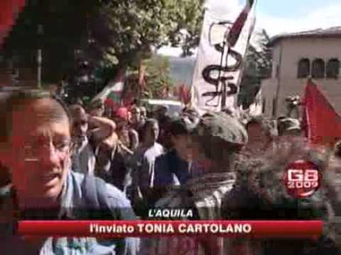 L'Aquila, 10 luglio 2009. Corteo contro G8 (servizio SKY)