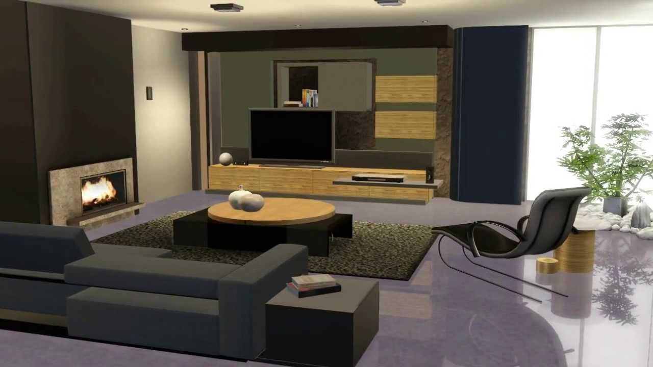 The sims 3 living moderno youtube for Living room ideas sims 3